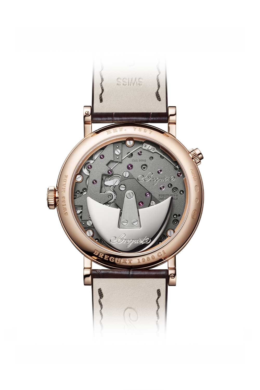 Caseback of the Breguet Tradition Quantième Retrograde 7597 in rose gold showcasing the Caliber 505Q