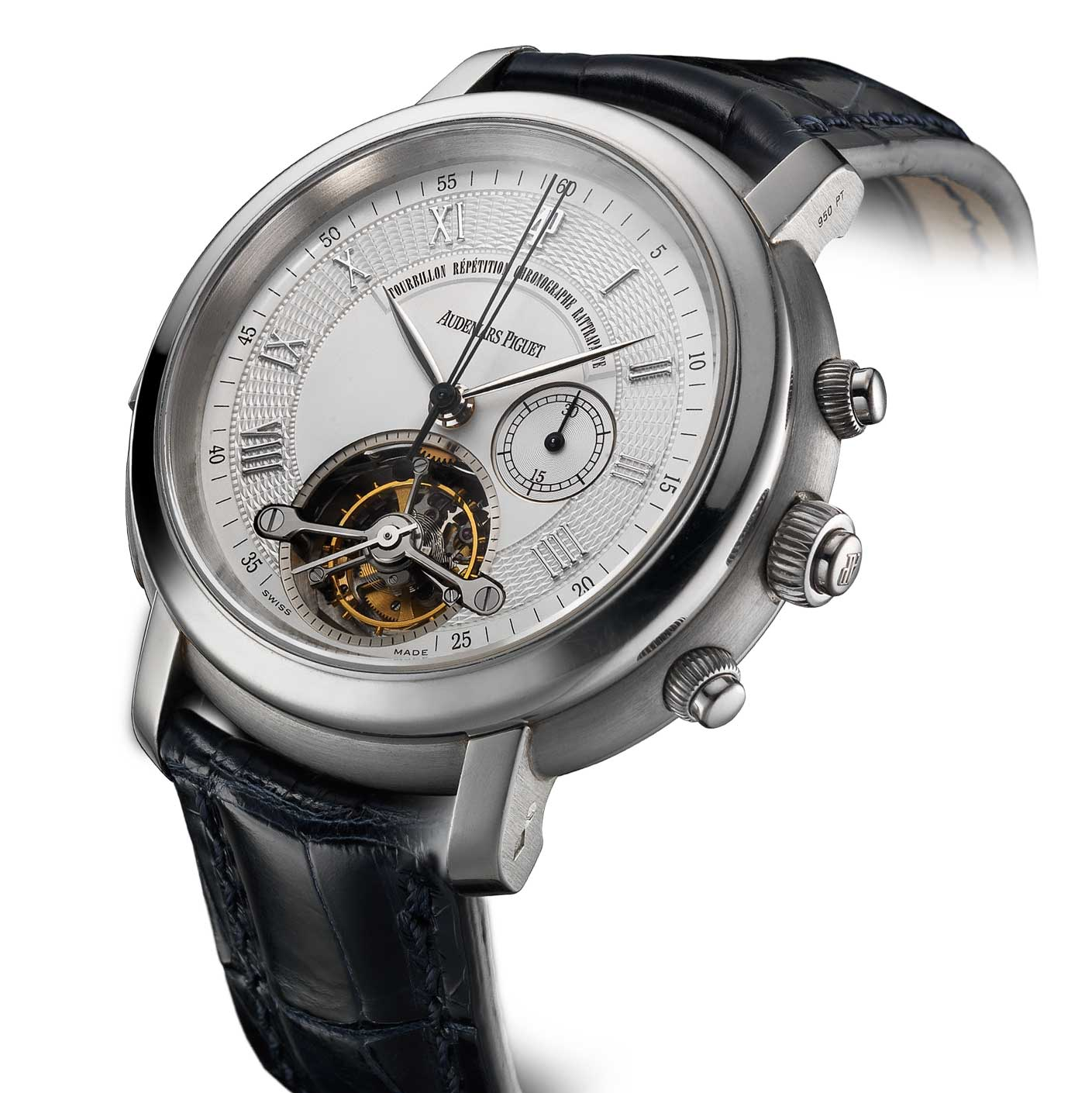 Audemars Piguet combined the tourbillon and chrongraph mechanism for the first time in 1999 with the Jules Audemars Tradition d'Excellence n°1; the watch seen here is from the Audemars Piguet Heritage Collection, Inv. 411