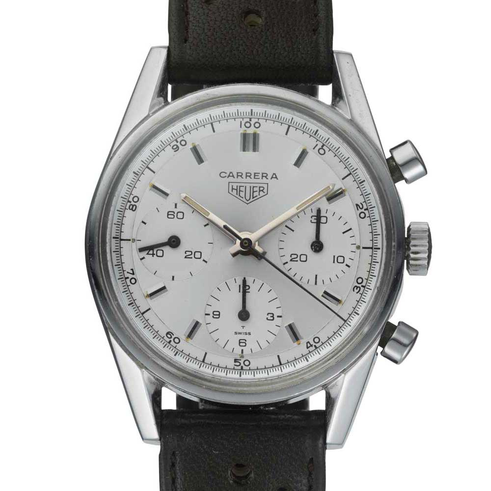An original Heuer Carrera with a monochrome silver dial known as ref. 2447S