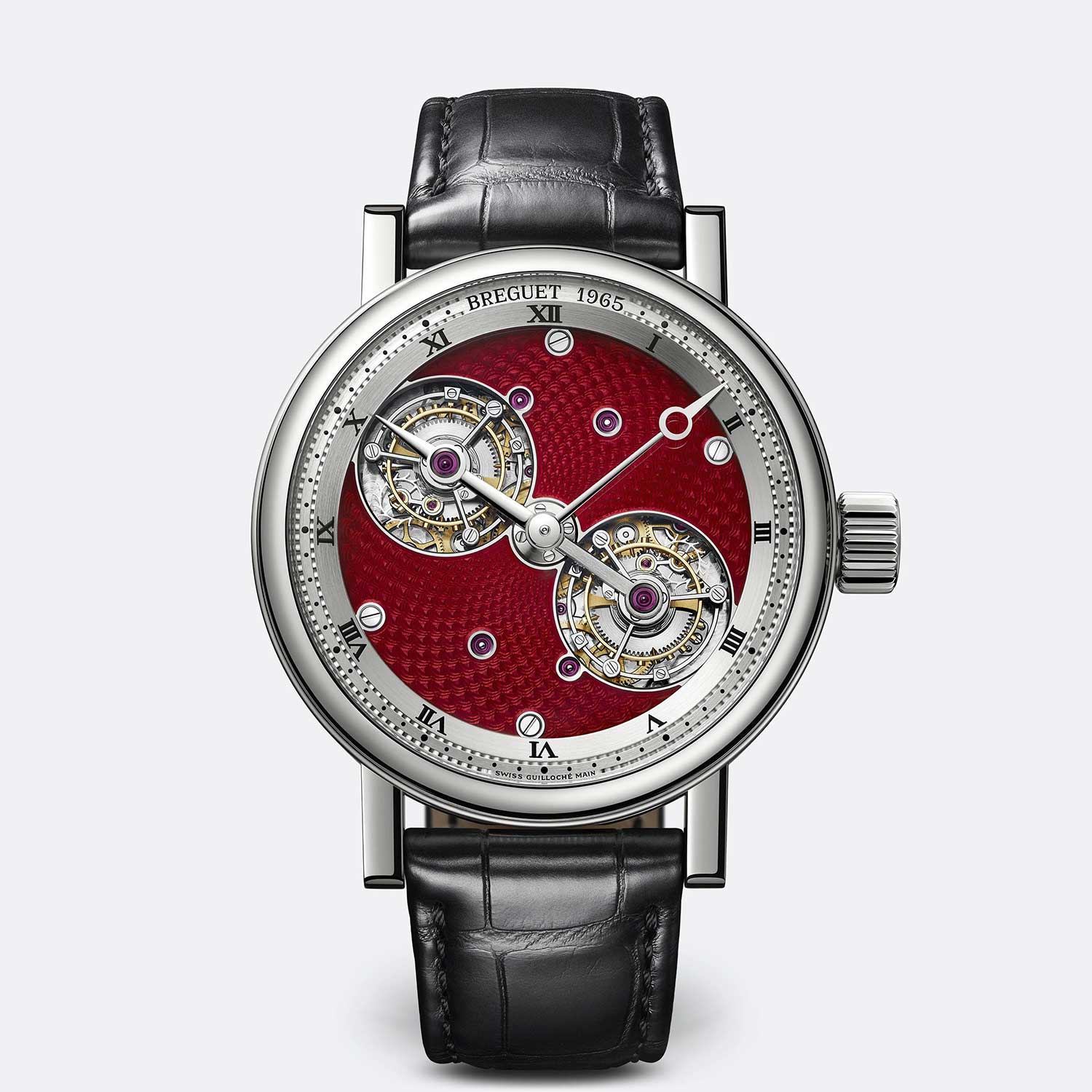 Breguet Classique Double Tourbillon 5347 with a Guilloché Main and translucent red enamel dial