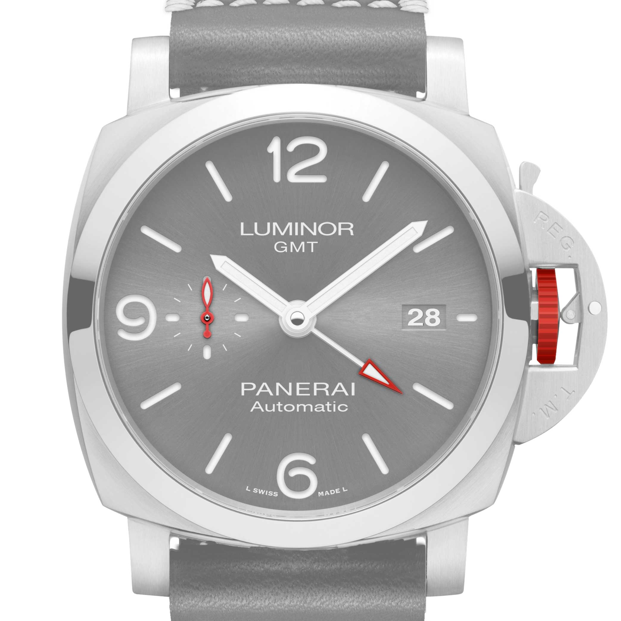 Some subtle red accents that differentiate the Panerai Luminor GMT ION Special Edition – 44mm (PAM01177)