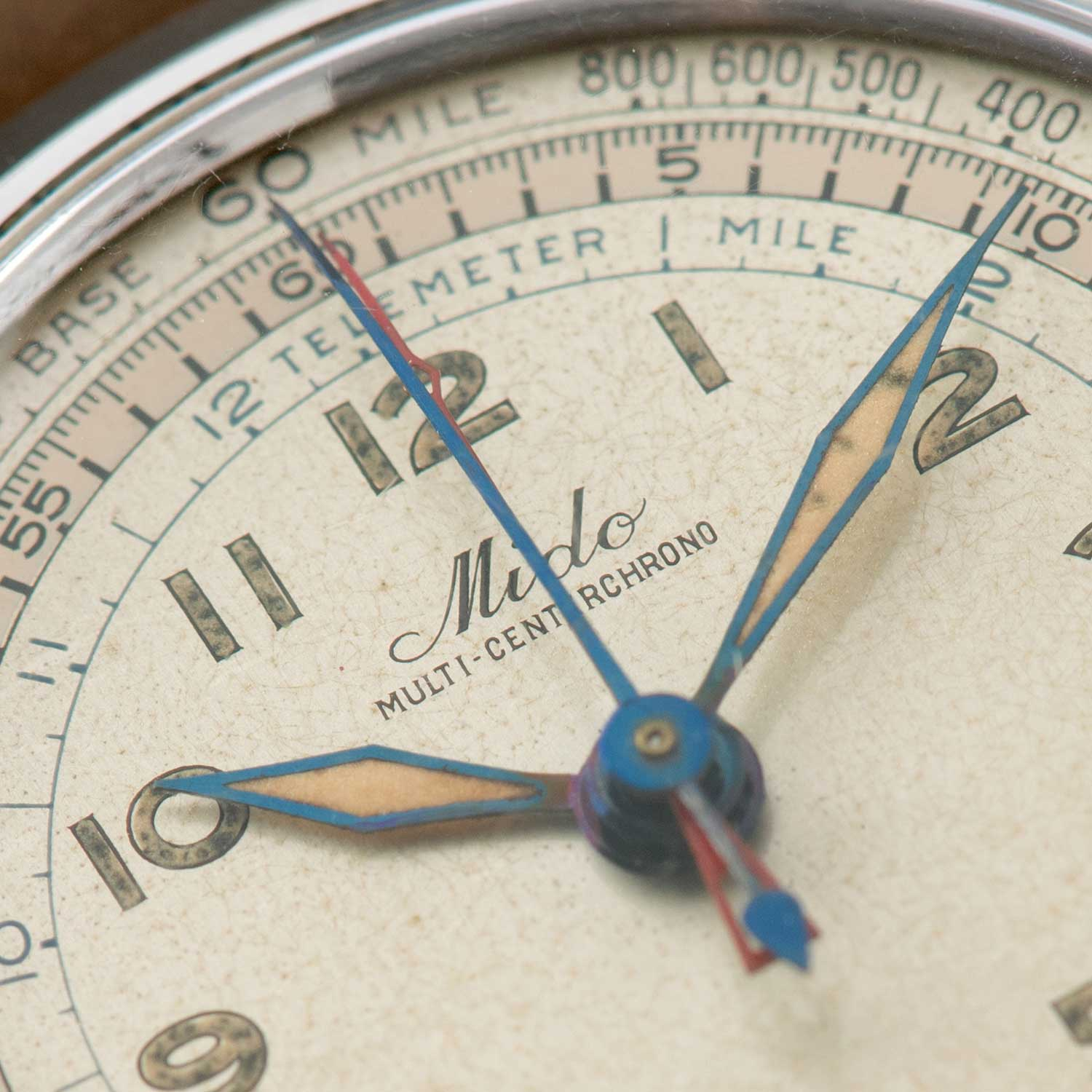 The four hands and dual scales of the Mido Multi-Centerchrono.