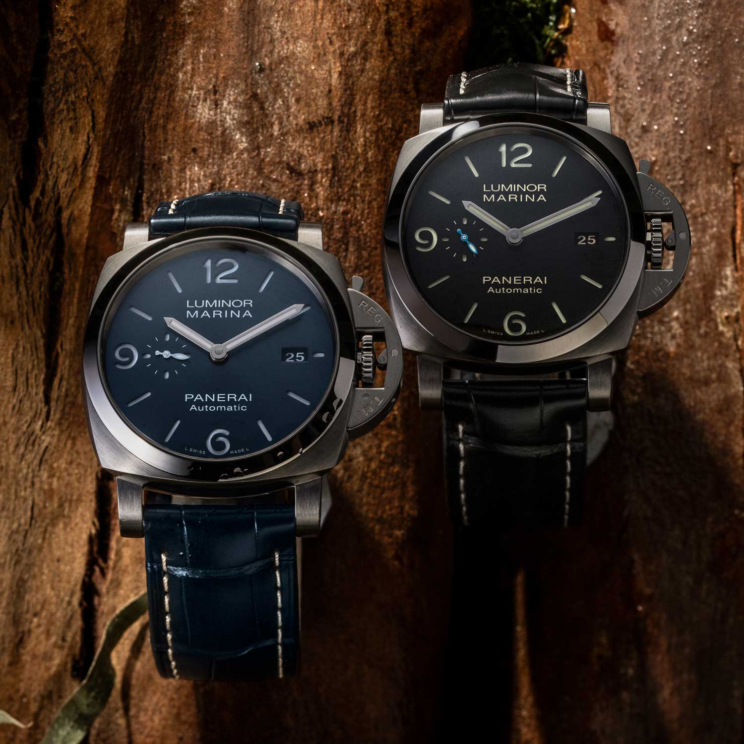 Joining the black PAM01312 is the PAM01313 with a handsome sun-brushed blue dial. (©Revolution)