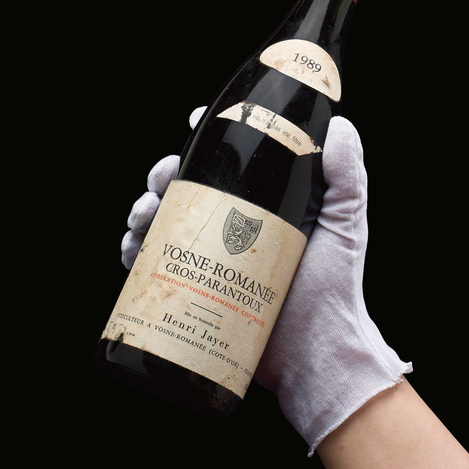 A 1989 bottle of Vosne-Romanée, Cros Parantoux that was sold as a set of a dozen with Christie's in 2012, for USD 90,750 (Image: Christies.com)