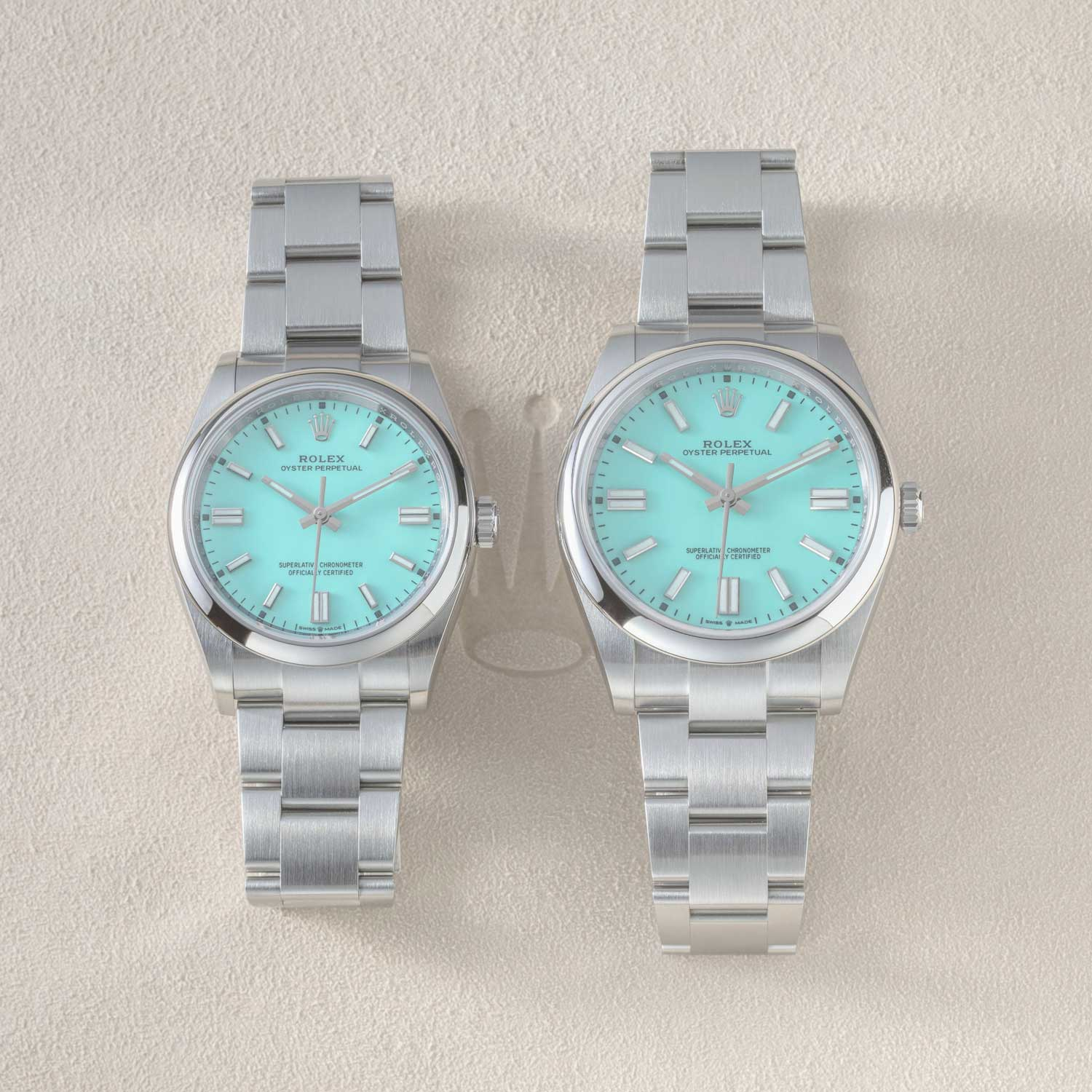 The 36mm and 41mm sizes of the 2020 Rolex Oyster Perpetual side-by-side, seen here with the much spoken of turquoise dial (©Revolution)