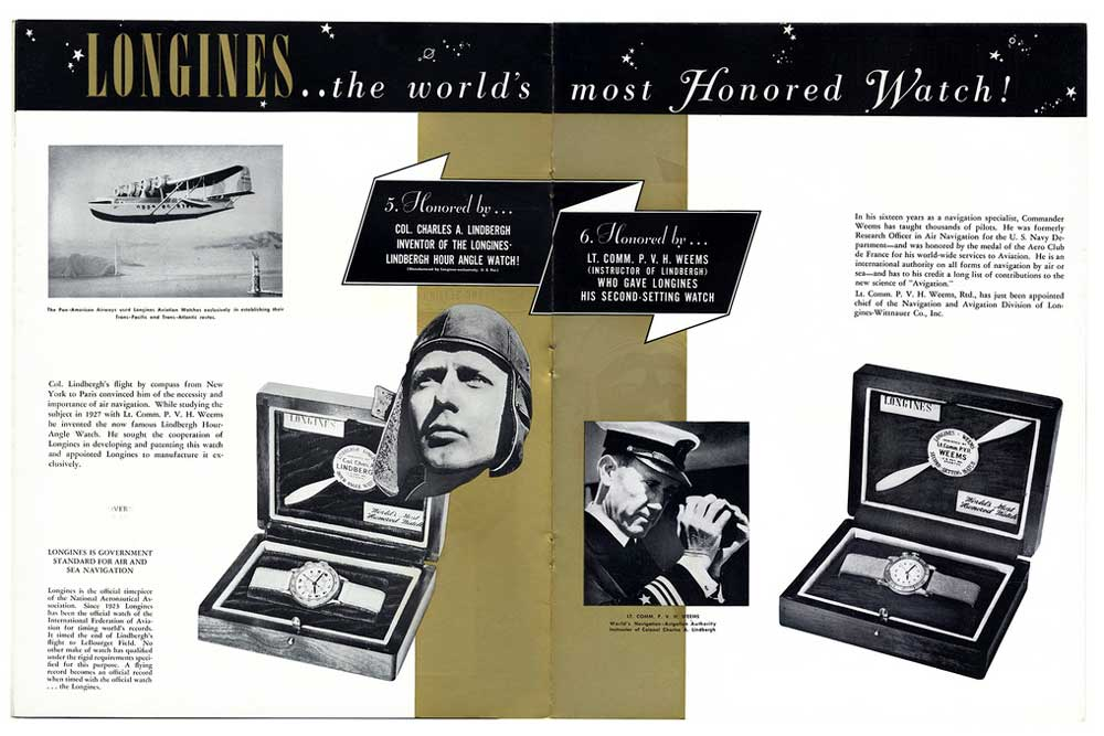 A vintage ad for the Longines Lindbergh Hour Angle Watch and Weems Second-Setting Watch (Image TBWS)