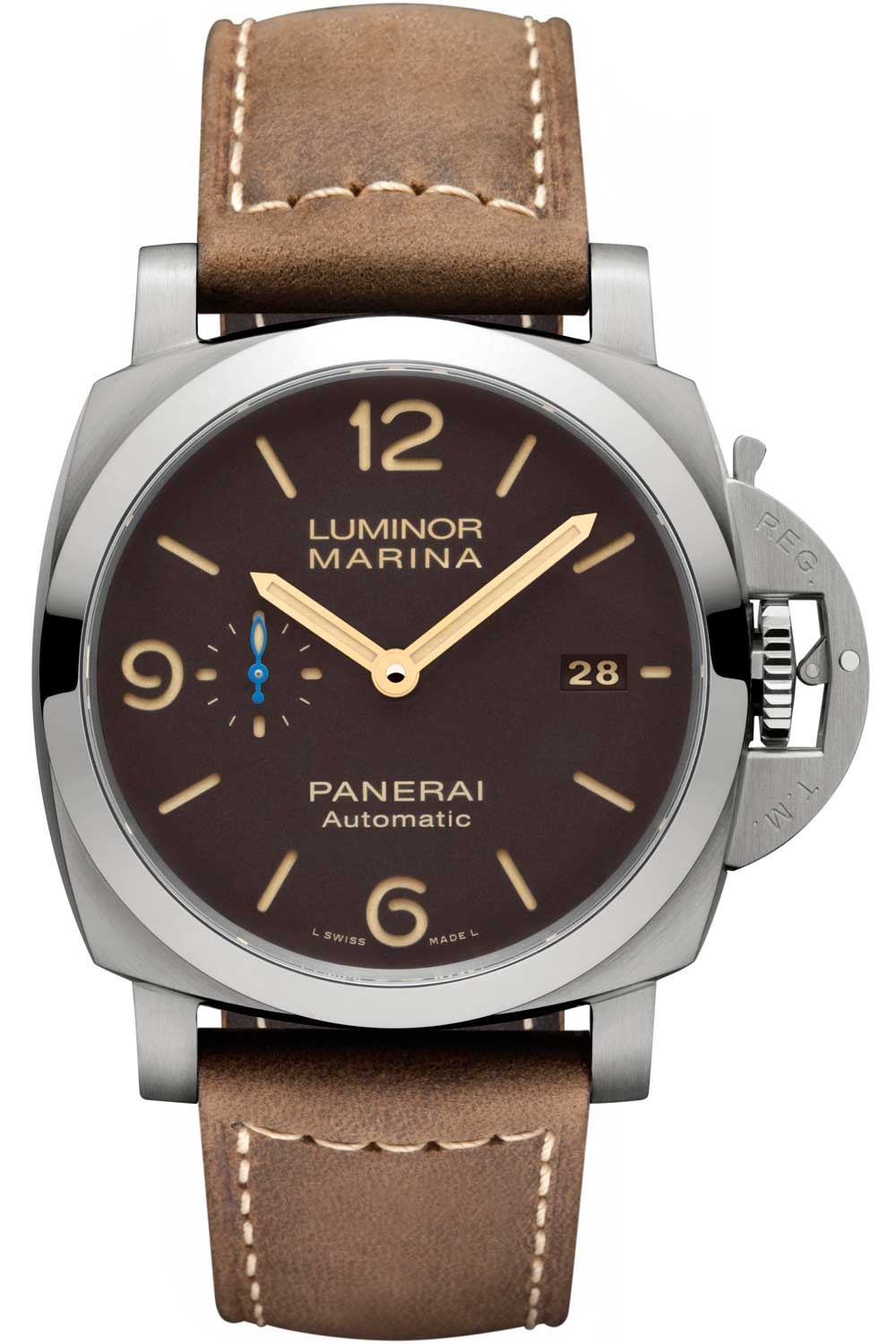 PAM1351, an example of Panerai's most iconic dial size - 44mm in titanium with a vintage look brown dial.