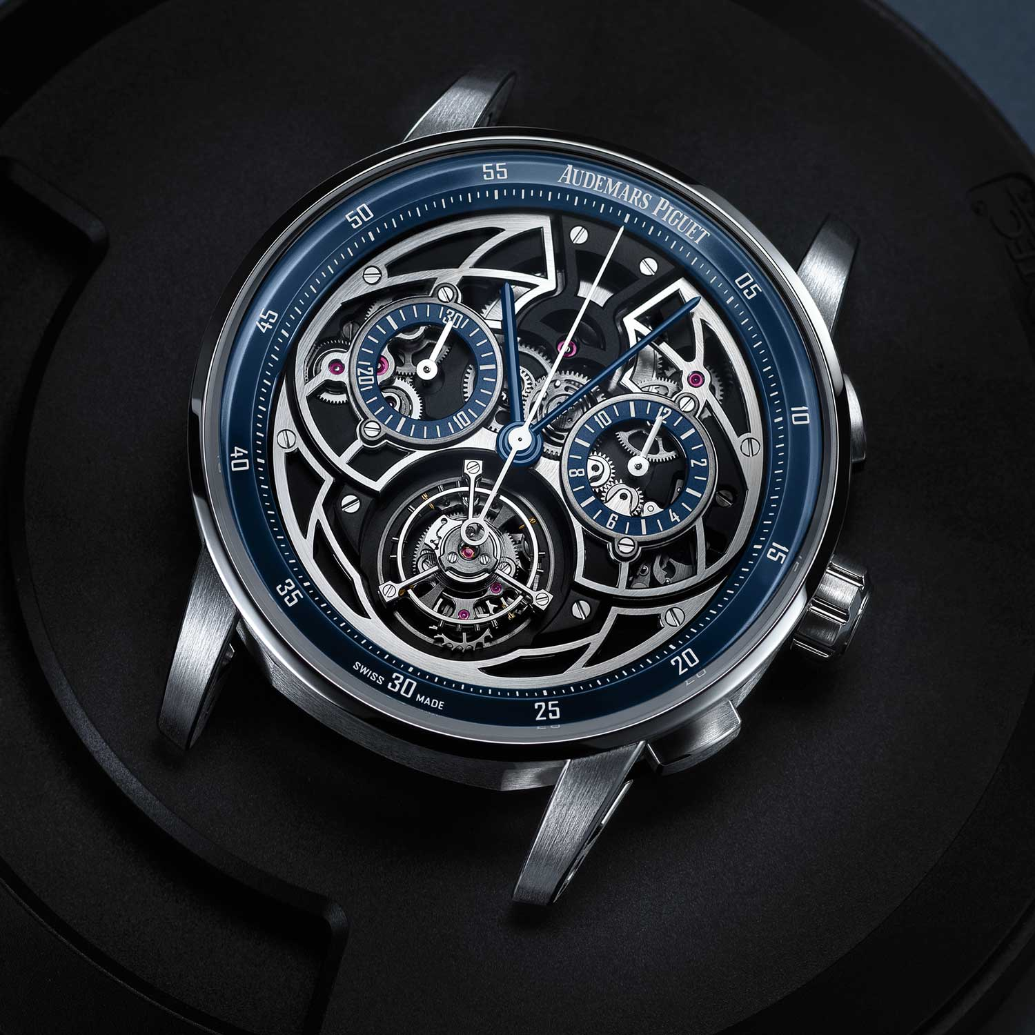 A closer look at the rhodium and black galvanic treated case of the Code 11.59 by Audemars Piguet Selfwinding Flying Tourbillon Chronograph