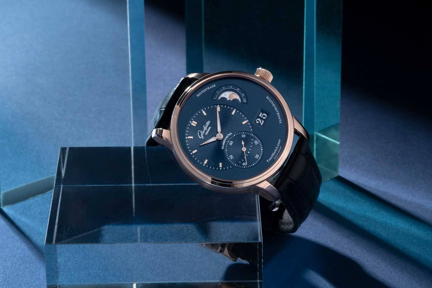 "The off-center appeal of the galvanic blue dial of the PanoMaticLunar lies in the mathematical attractions of the ""golden ratio.""(©Revolution)"