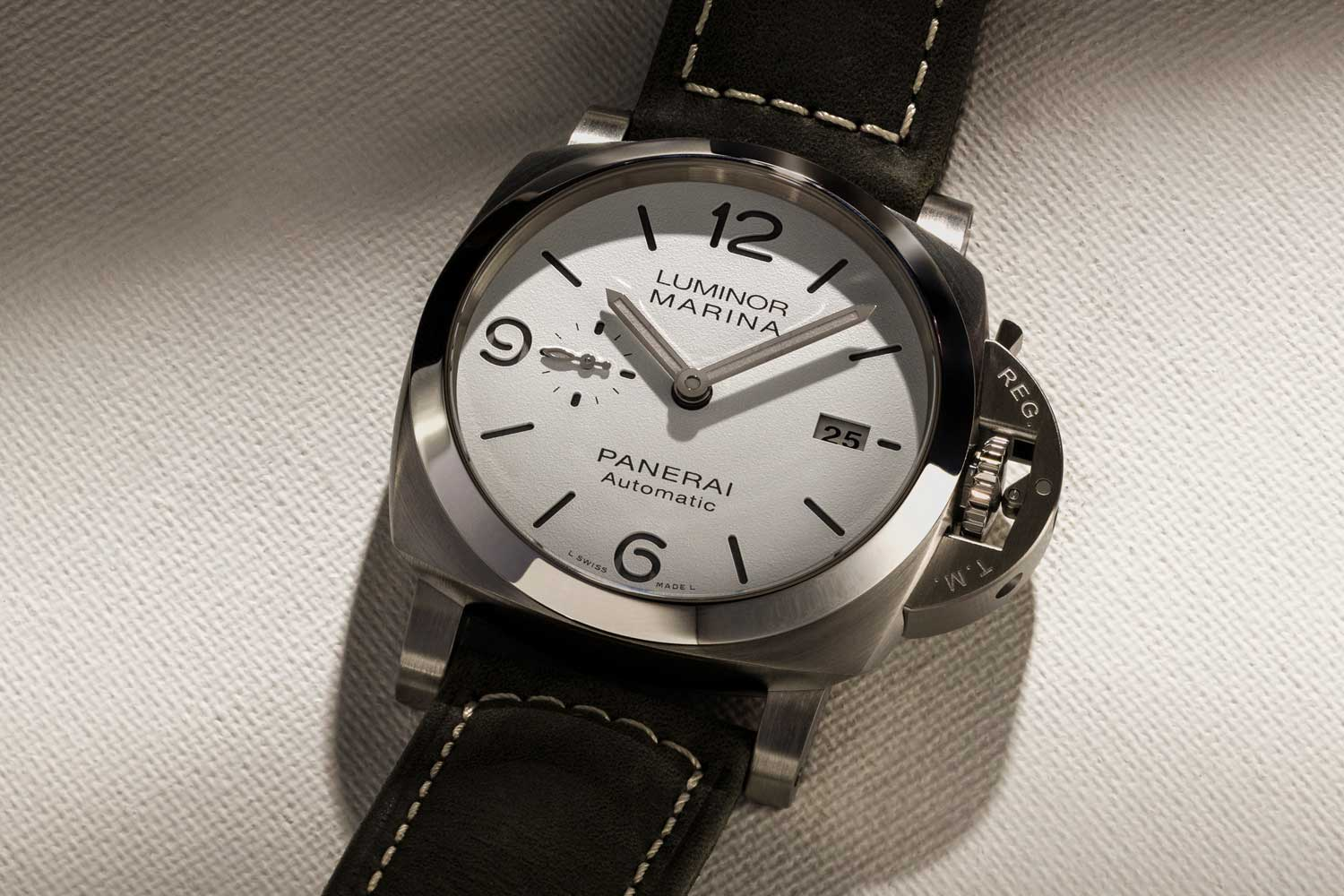 The Luminor Marina PAM01314 with a stunning white sandwich dial with new grey SuperLuminova and grey strap. (©Revolution)