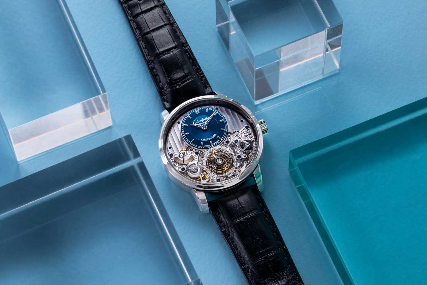 The Glashütte Original Senator Chronometer Tourbillon with flying tourbillon with a stop-second mechanism, zero reset, and minute detent ensuring the watch stays precisely in sync. (©Revolution)