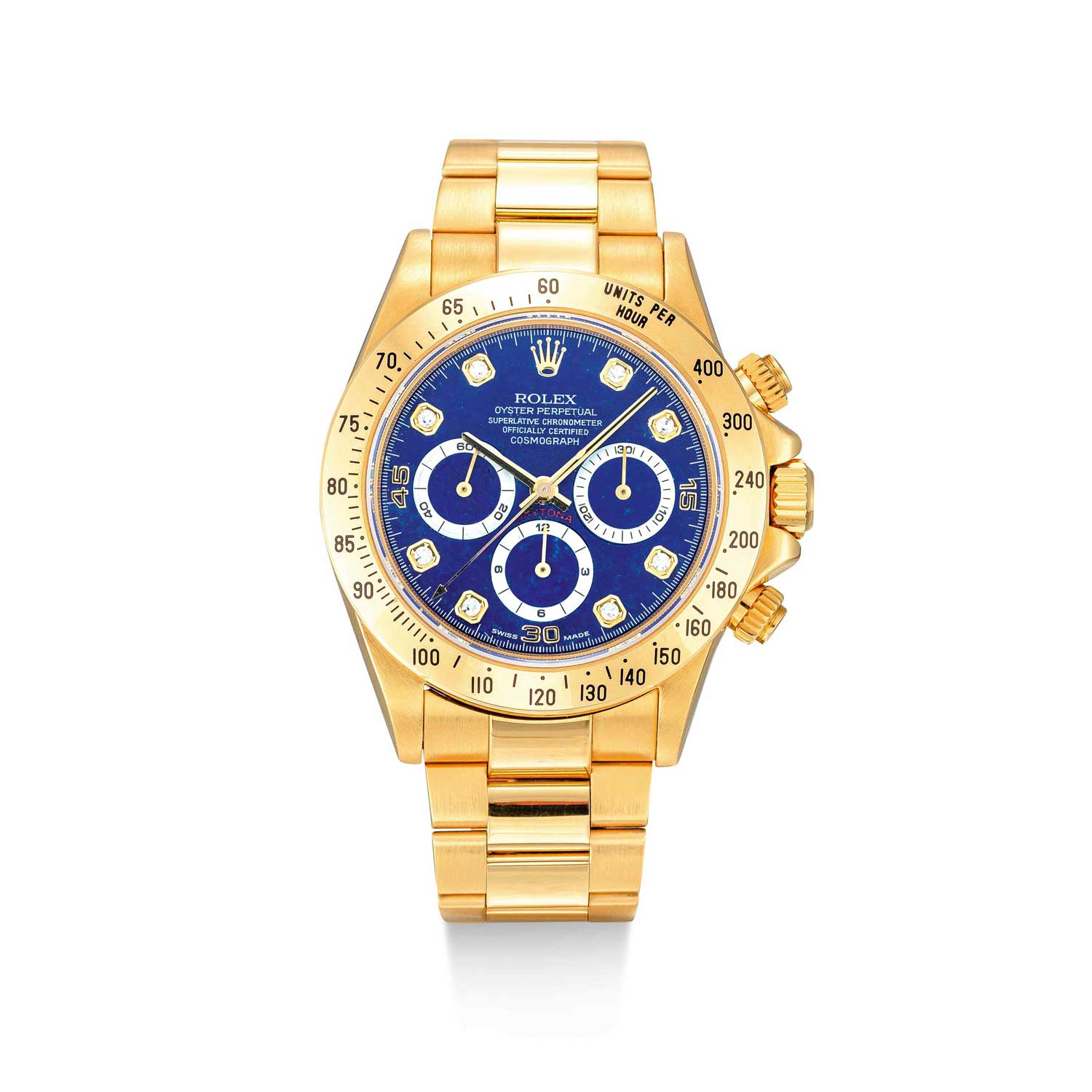 Rolex Daytona reference 16528 in yellow gold with a Lapis Lazuli dial, up for sale with Sotheby's Autumn 2020 sale in Hong Kong