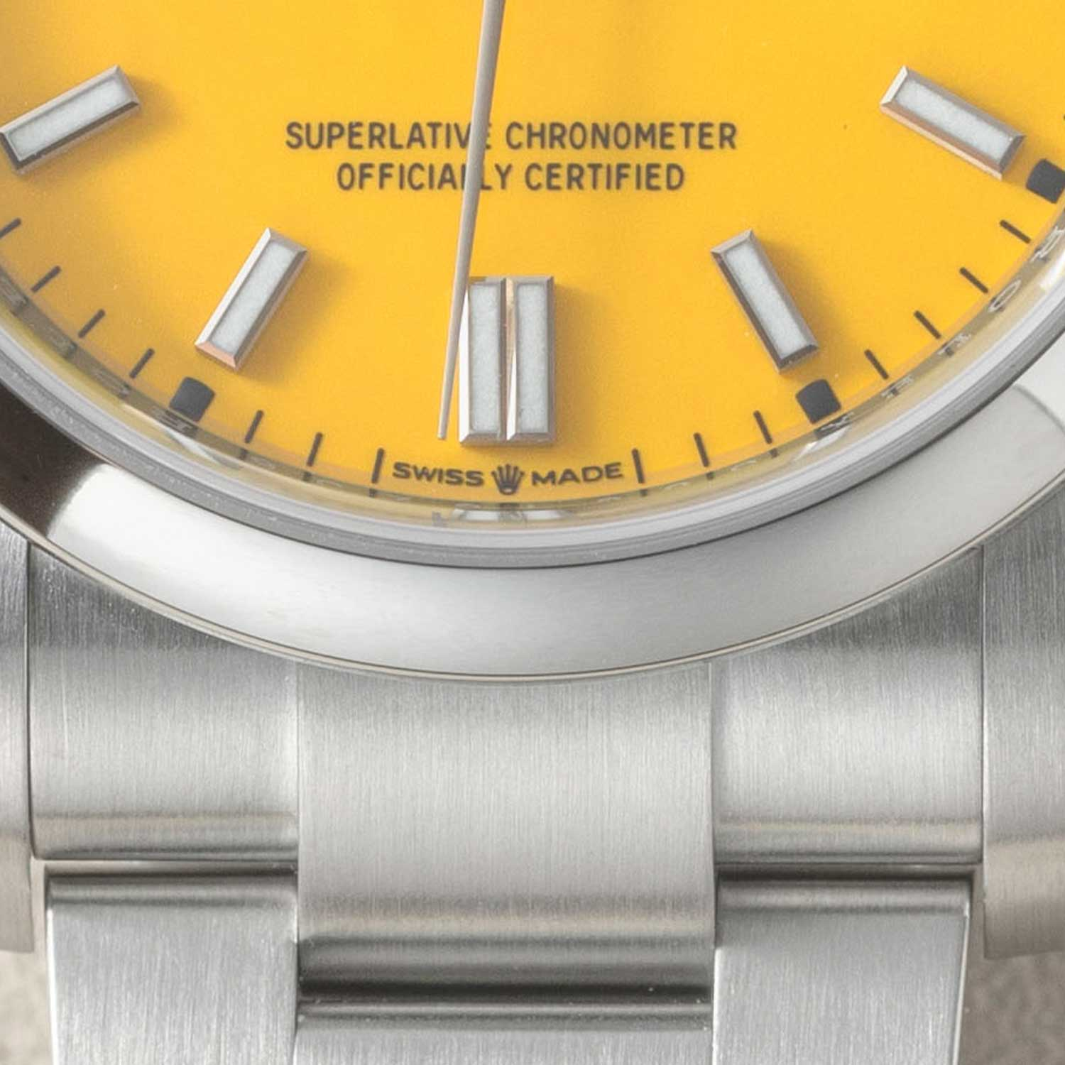 """The all familiar coronet placed between """"Swiss Made"""" on the 36mm 2020 Rolex Oyster Perpetual, marking that the watch contains the newer 3230 Superlative Chronometer movement rated to -2/+2 deviation (©Revolution)"""