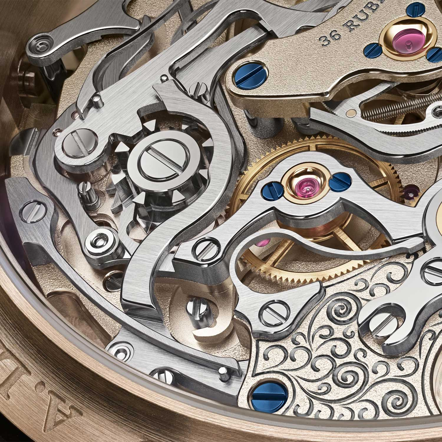 A closer look at the black rhodium treatment on the hand engraving on the chronograph bridge of the Lange manufacture calibre L101.2
