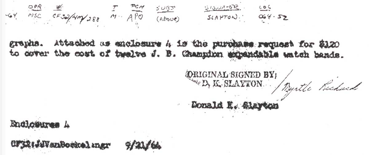 Donald Slayton, NASA's director of Flight Crew Operations, placed an order for 12 JB Champion expandable watch bands, as seen on this letter.