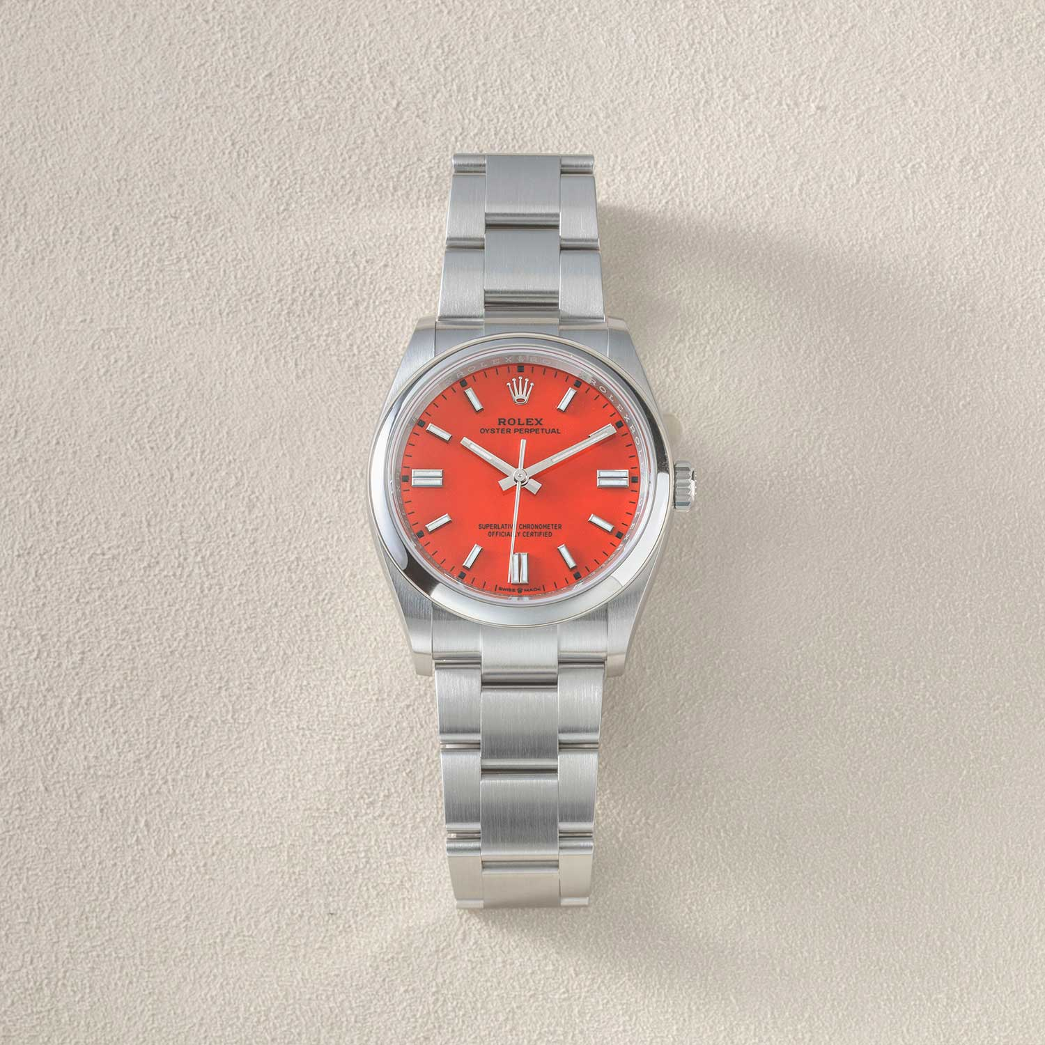 The 36mm 2020 Rolex Oyster Perpetual seen here with the coral red dial (©Revolution)