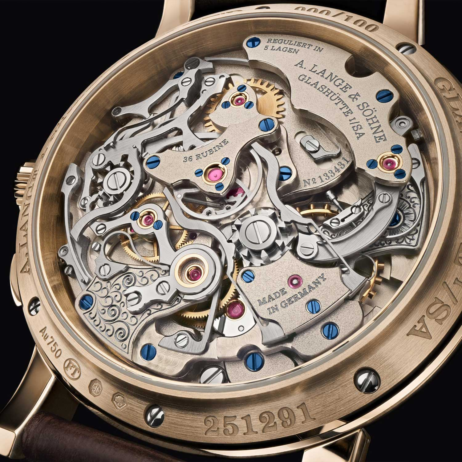 """The Lange manufacture calibre L101.2 powering the Tourbograph Perpetual Honeygold """"Homage to F. A. Lange"""""""