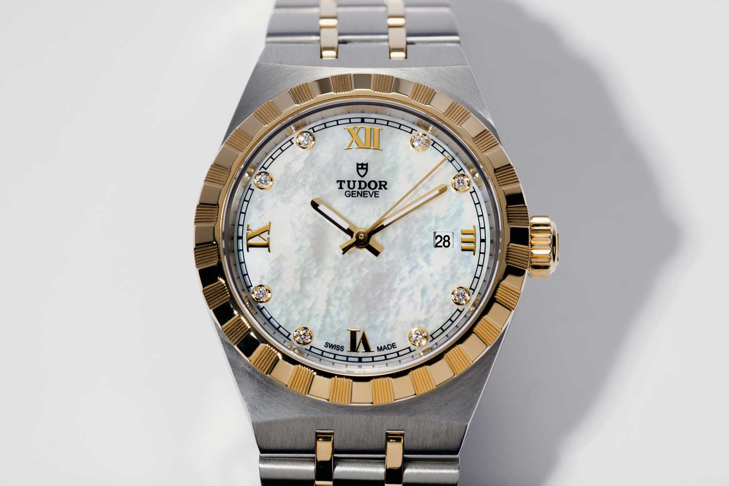 The Tudor Royal, 28mm in steel and gold, and a mother of pearl dial