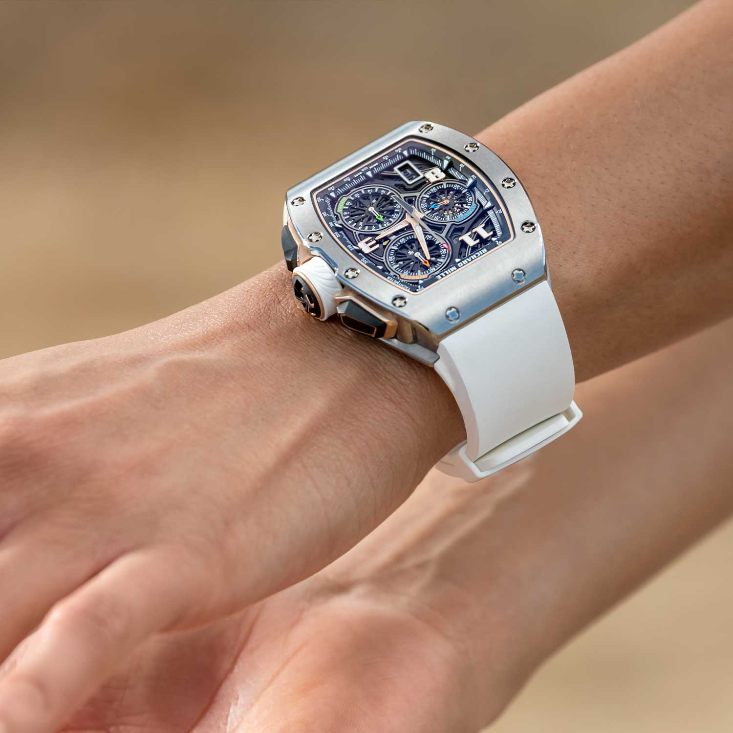 The RM 72-01 Lifestyle Chronograph on the wrist in titanium