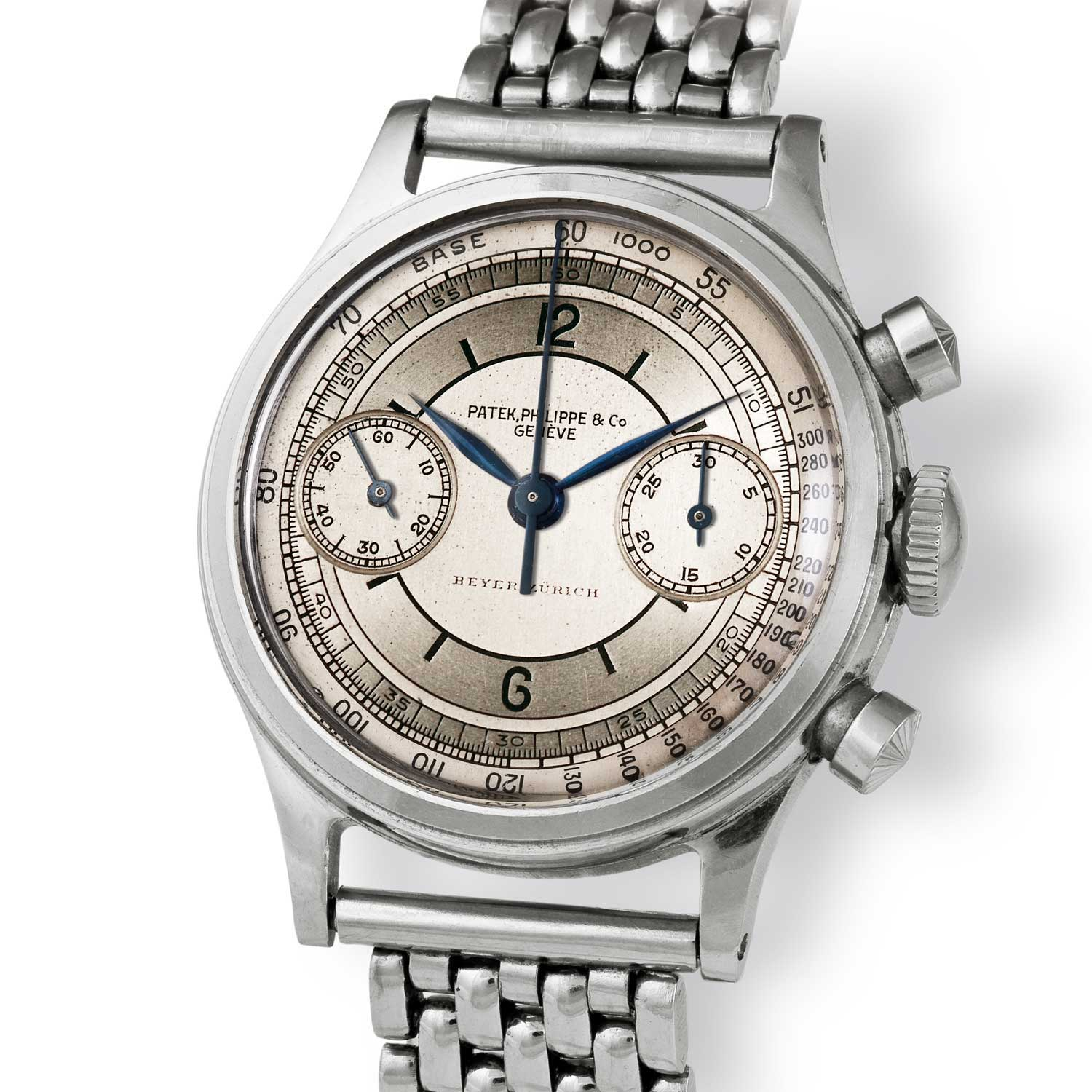 Patek Philippe ref. 1463 steel chronograph with sector dial (Image: John Goldberger)