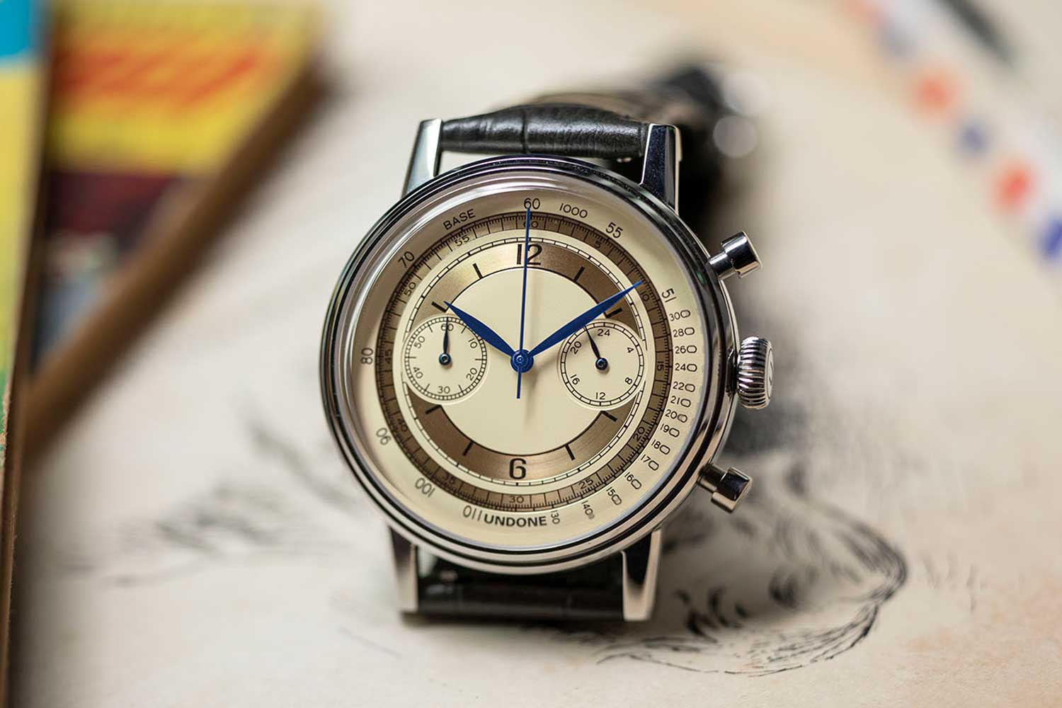 The UNDONE Vintage Chronograph for The Rake & Revolution featuring a vintage-inspired sector dial.