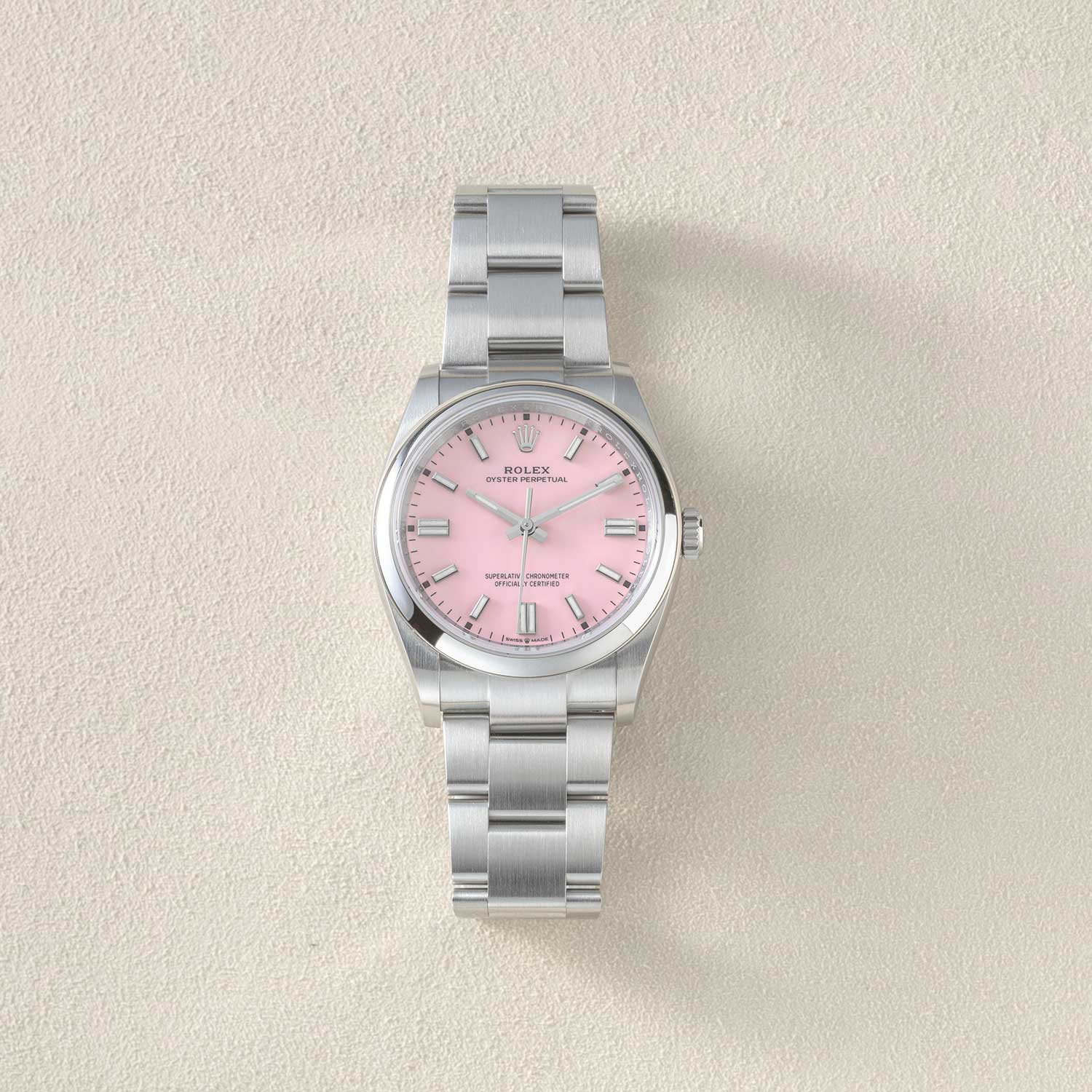 The 36mm 2020 Rolex Oyster Perpetual seen here with the candy pink dial (©Revolution)