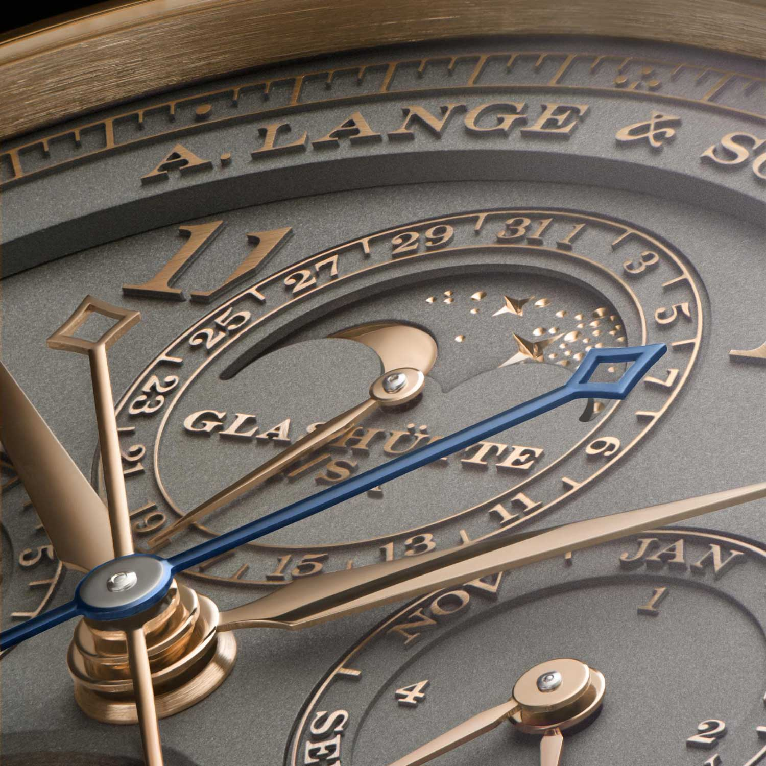 """The numerals and scales of the Tourbograph Perpetual Honeygold """"Homage to F. A. Lange"""" raised, rather than applied, from the solid Honeygold dial"""