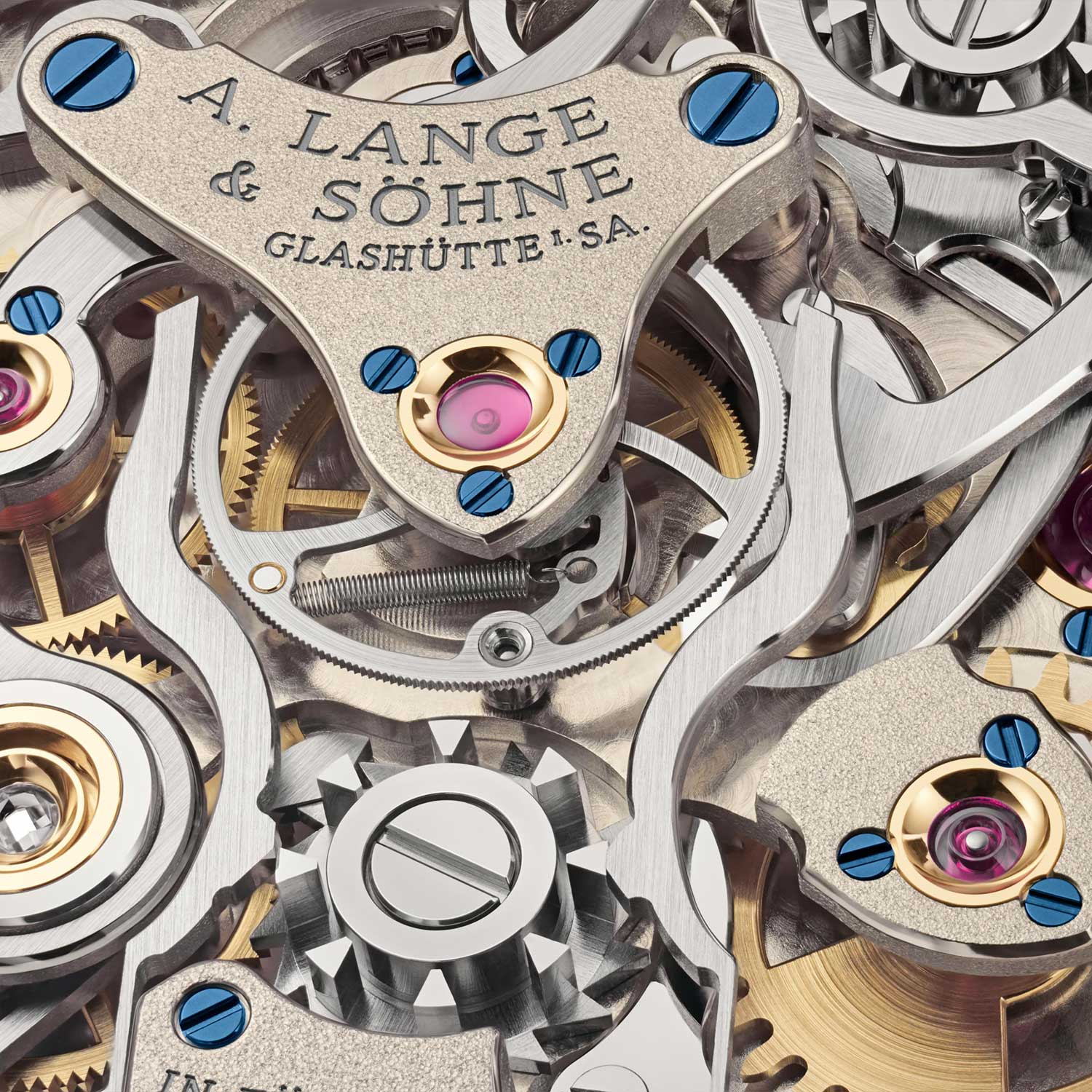 A closer look at the split seconds clamp on the Lange manufacture calibre L133.1