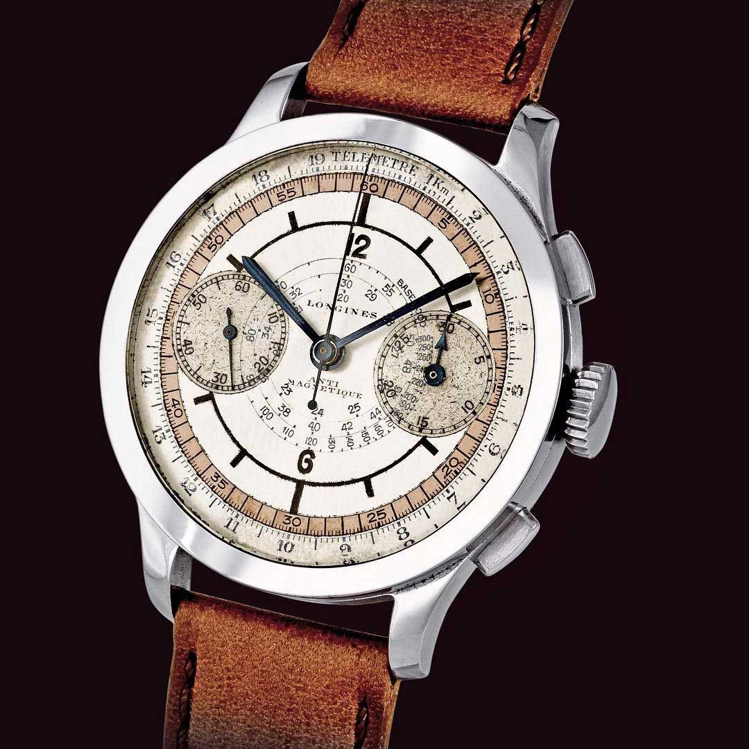 A stainless steel Longines Chronograph with sector dial and calibre 15''' base Valjoux 22 GH with flyback mechanism (Image: Goldberger)