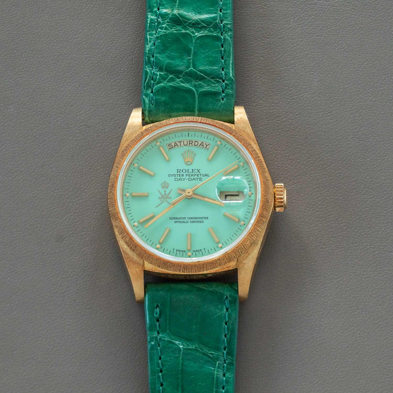 An unusual mint green Rolex Stella Khanjar Day-Date ref. 18078 (circa 1980) with a crown on the Khanjar crest at 9 o'clock (©Revolution)