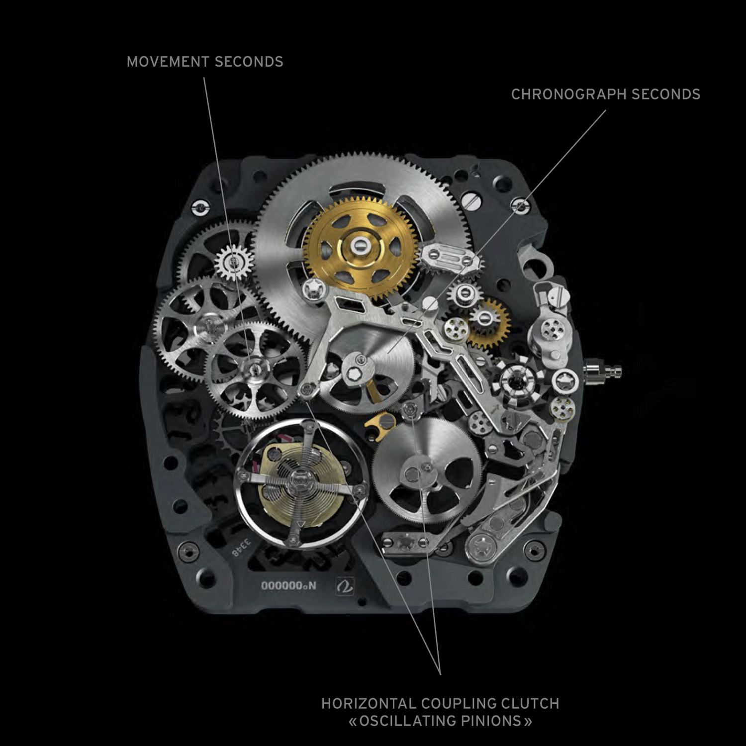 Tthe calibre CRMC1 is he first chronograph in the world with two oscillating pinions incorporated