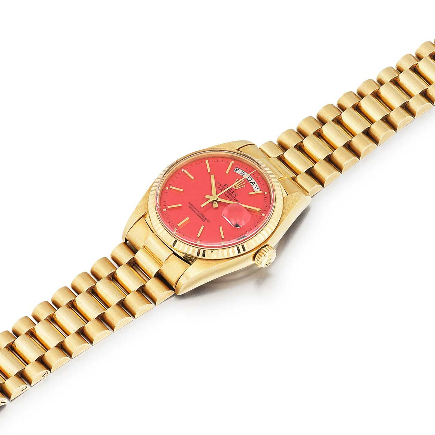 A coral red dial Stella Day-Date ref. 1803 (Image: sothebys.com)