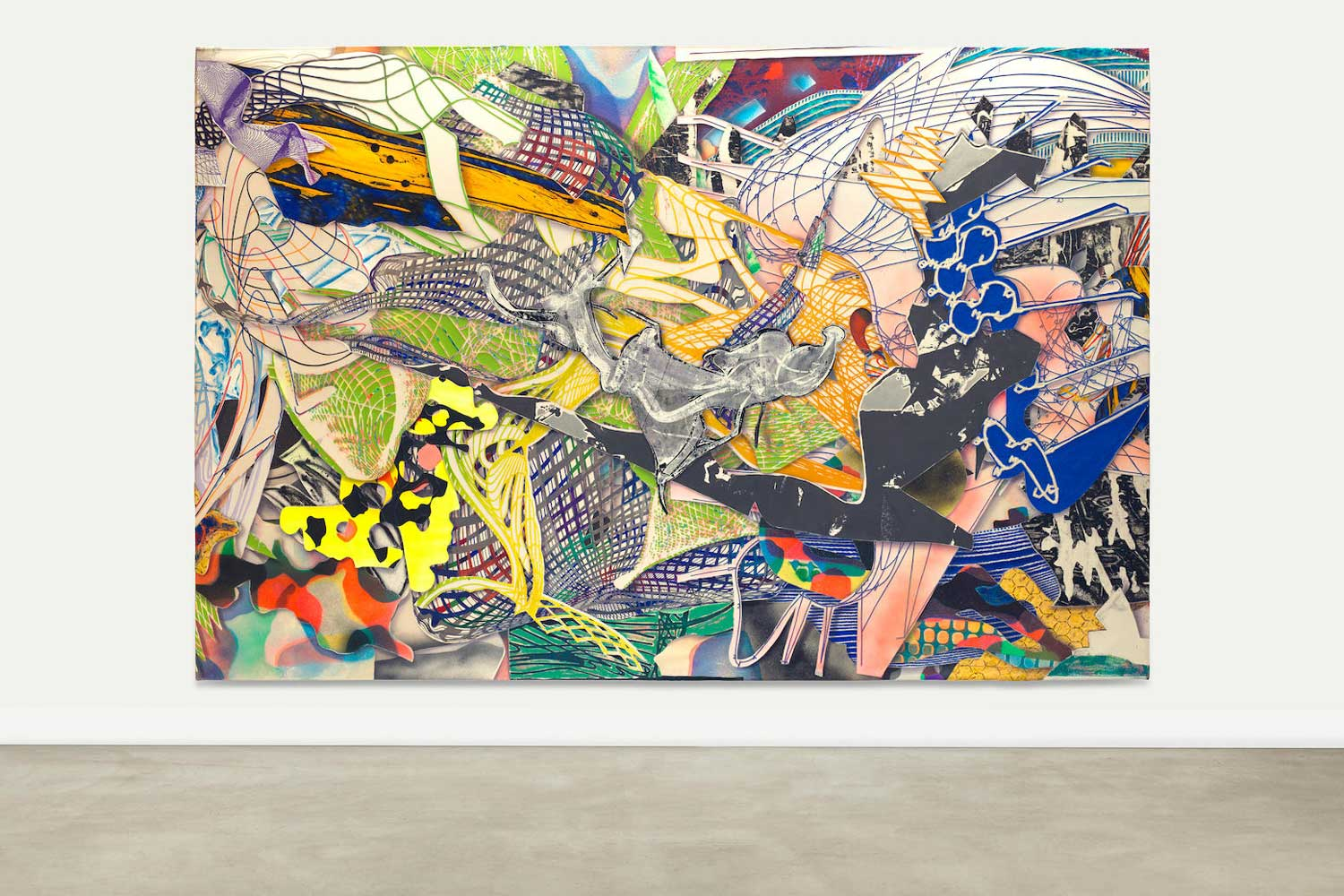 Frank Stella's Karpathenburg II, 1996; mixed media on canvas; 297.2 x 458.5cm; the artwork, in typical inclination of Frank Stella's use of exuberant colors, sold with Bonhams in New York November 15, 2016 for USD 277,500 (Image: bonhams.com)