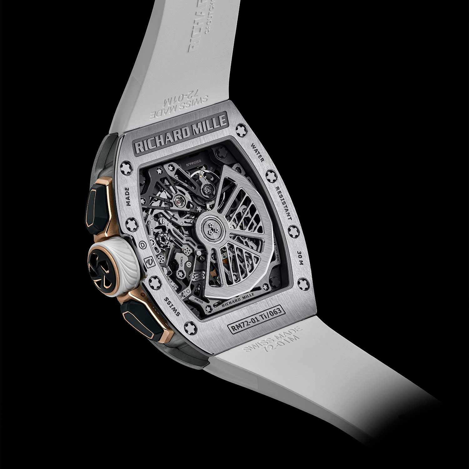 The calibre CRMC1 seen here through the caseback of the RM 72-01 Lifestyle Chronograph in titanium