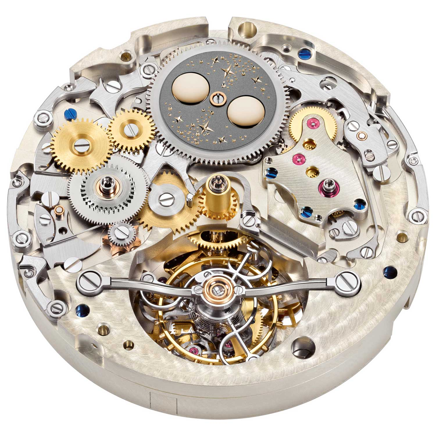 """The Lange manufacture calibre L133.1 as it would be viewed once the dial is removed from the Tourbograph Perpetual Honeygold """"Homage to F. A. Lange"""""""