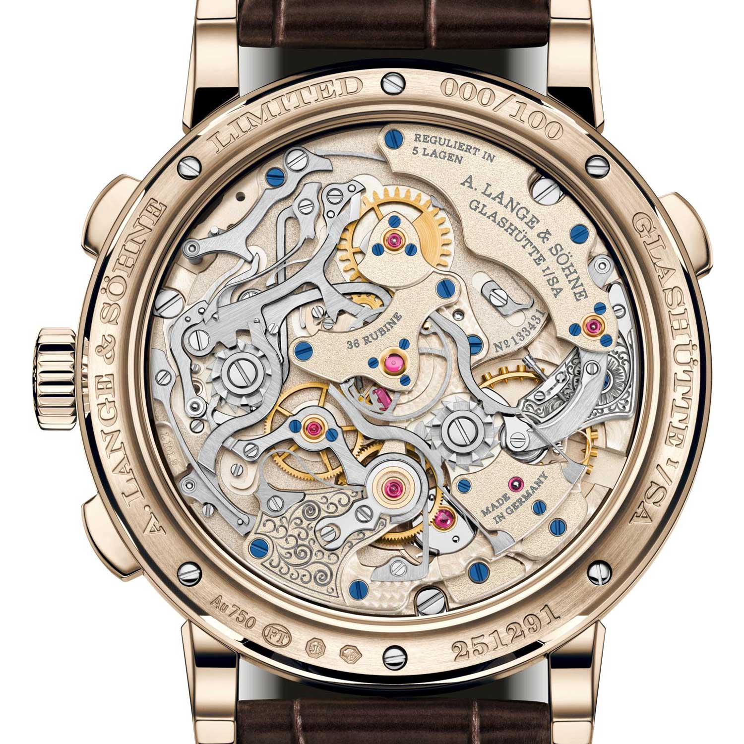 """The caseback of the 1815 Rattrapante Honeygold """"Homage to F. A. Lange"""" showcasing the Lange manufacture calibre L101.2"""