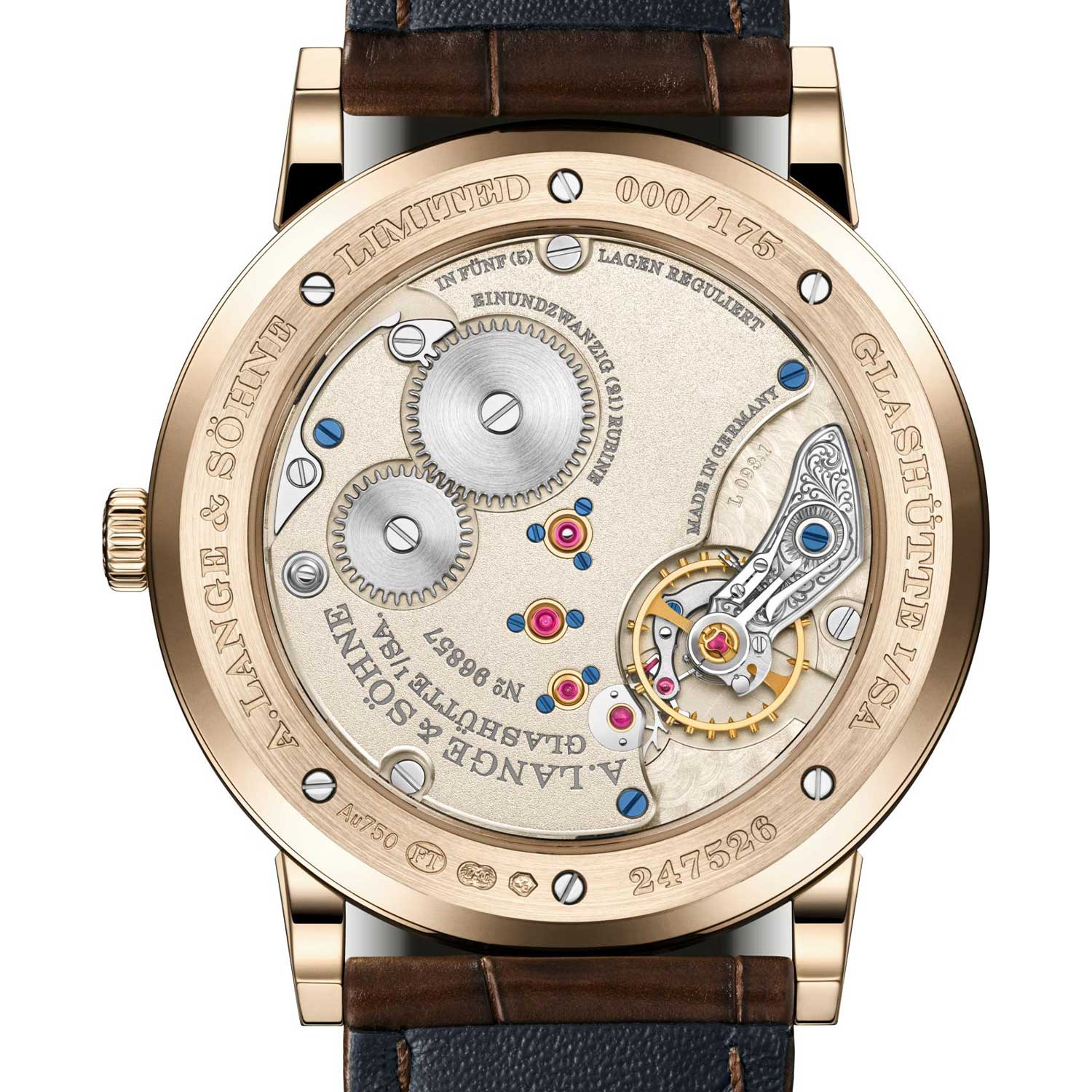"""Caseback of the 1815 Thin Honeygold """"Homage to F. A. Lange"""" showcasing the Lange manufacture calibre L093.1"""