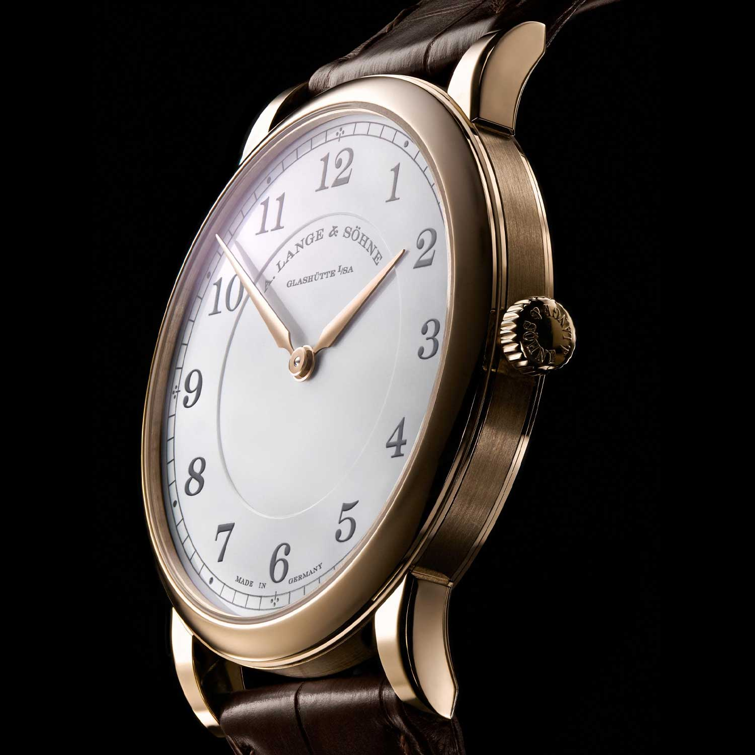 """The crown-side of the case of the 1815 Thin Honeygold """"Homage to F. A. Lange"""""""
