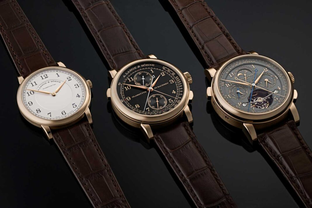 """The 2020 A. Lange & Söhne """"Homage to F. A. Lange"""" Collection in Honeygold"""