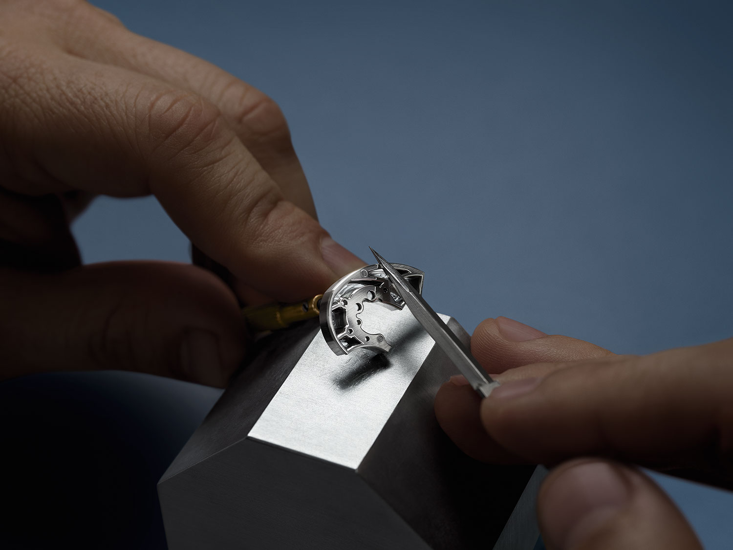 Extensive finissage is required for the Code 11.59 by Audemars Piguet Selfwinding Flying Tourbillon Chronograph to adequately dress its complicated bridges with multiple internal angles