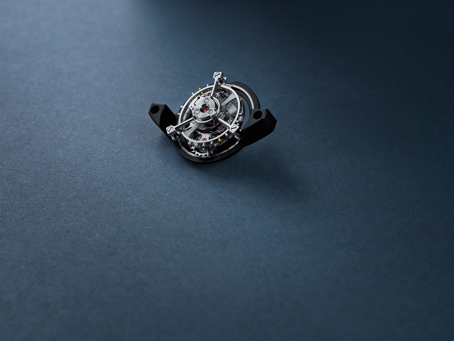 The flying tourbillon assembly of the The Caliber 2952 as seen contained within the Code 11.59 by Audemars Piguet Selfwinding Flying Tourbillon Chronograph
