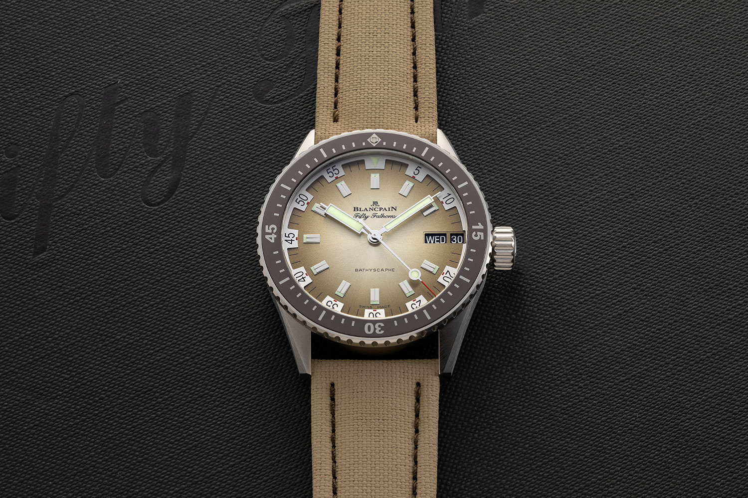The Blancpain Fifty Fathoms Bathyscaphe Day Date 70s with a Desert Color Dial (©Revolution)