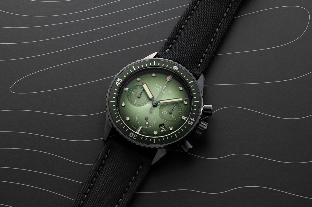 The Blancpain Fifty Fathoms Bathyscaphe Chronographe Flyback in Green (©Revolution)