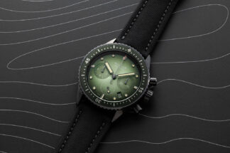 The Blancpain Fifty Fathoms Bathyscaphe Chronographe Flyback in Tropical Green (©Revolution)