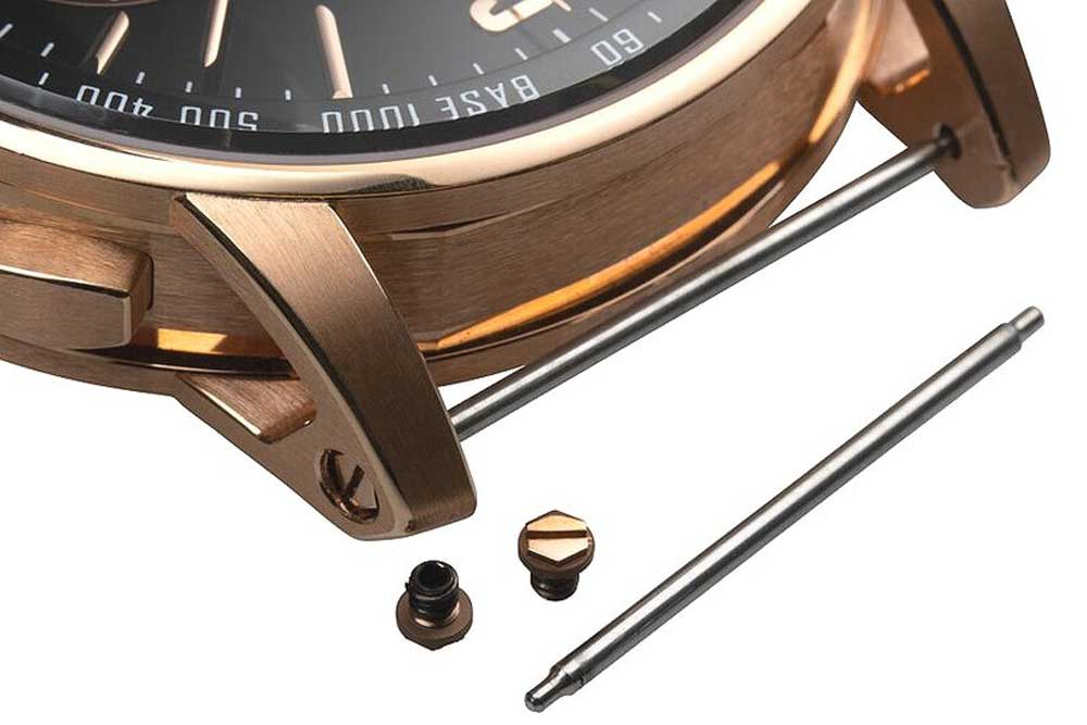 : A high-polished, screw-slotted, hexagonal-shaped threaded device used to retain the attachment for the strap on Code 11.59 by Audemars Piguet timepieces (Image: thenakedwatchmaker.com)