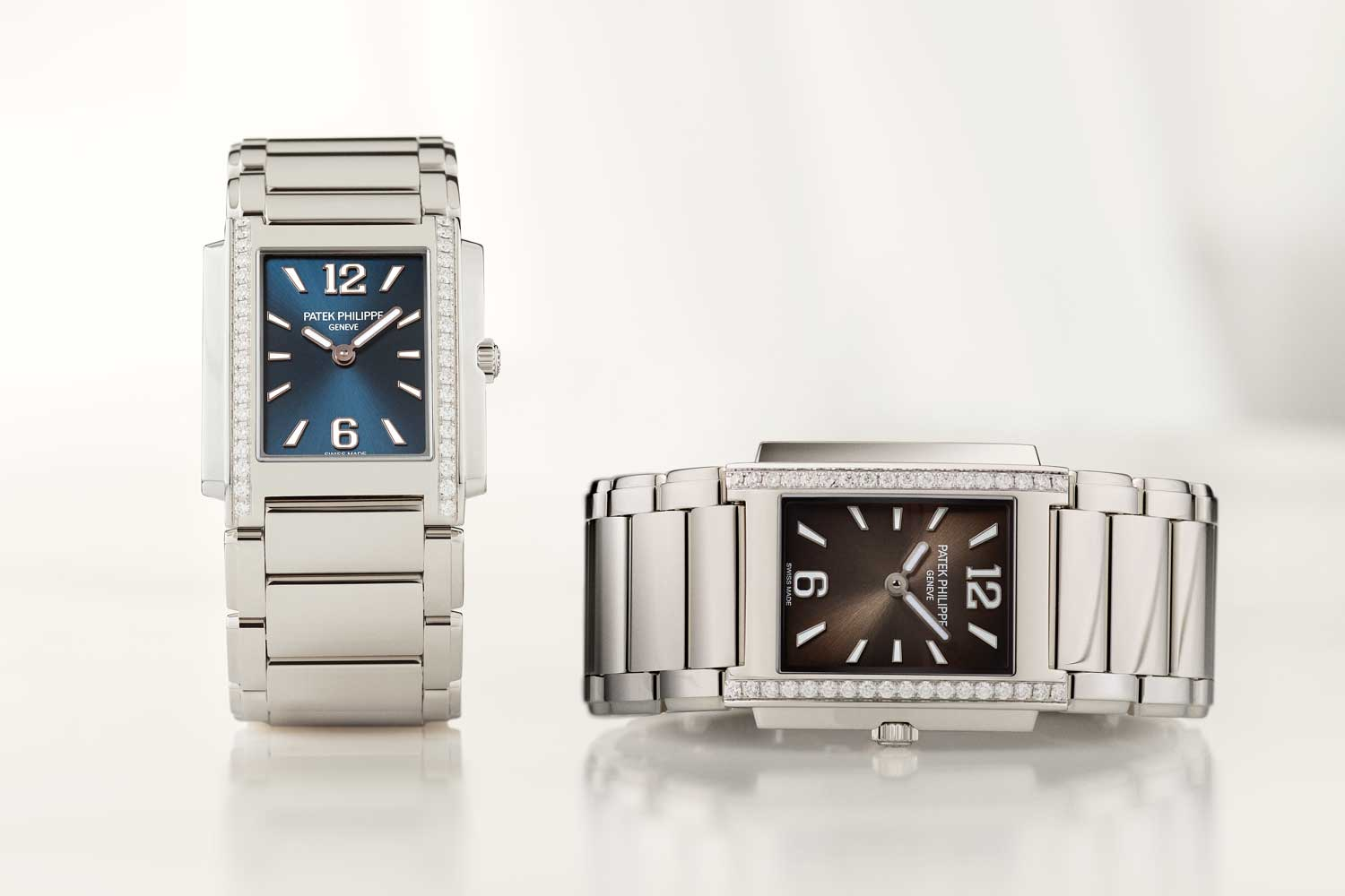 Patek Philippe Twenty~4 reference 4910/1200A-001 with blue sunburst and reference 4910/1200A-010 with gray sunburst dial