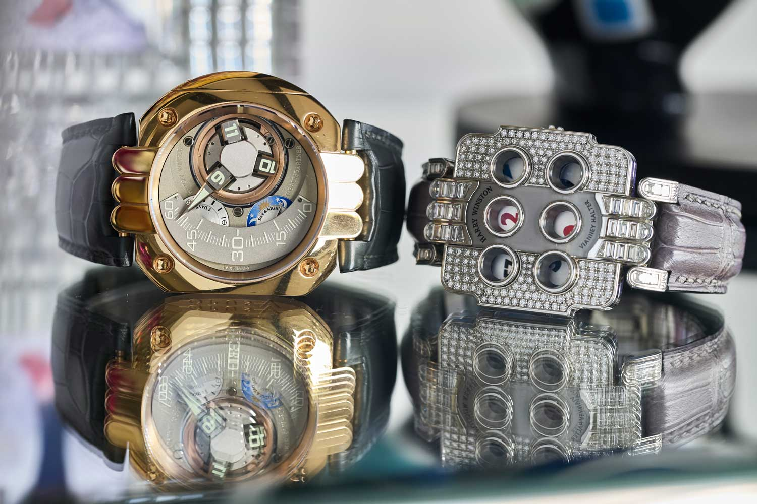 Two horological marvels from Santa Laura's collection: the Harry Winston Opus 5 created by Felix Baumgartner and the Opus 3 created by Vianney Halter (©Revolution)