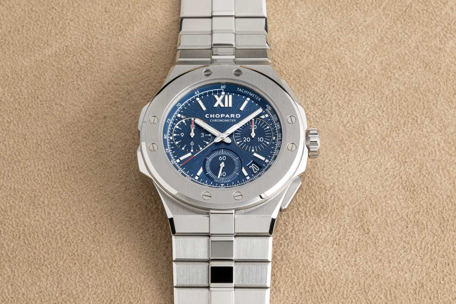 Alpine Eagle XL Chrono in Lucent Steel A223 with Aletsch Blue dial (©Revolution)