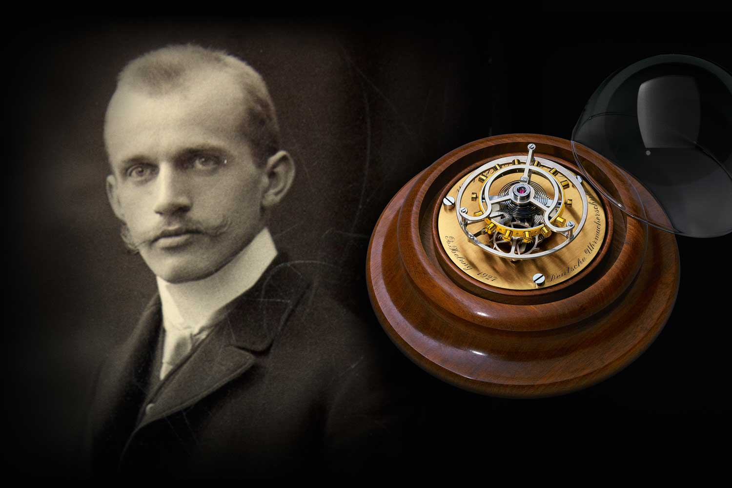 Alfred Helwig with his flying tourbillon invention.
