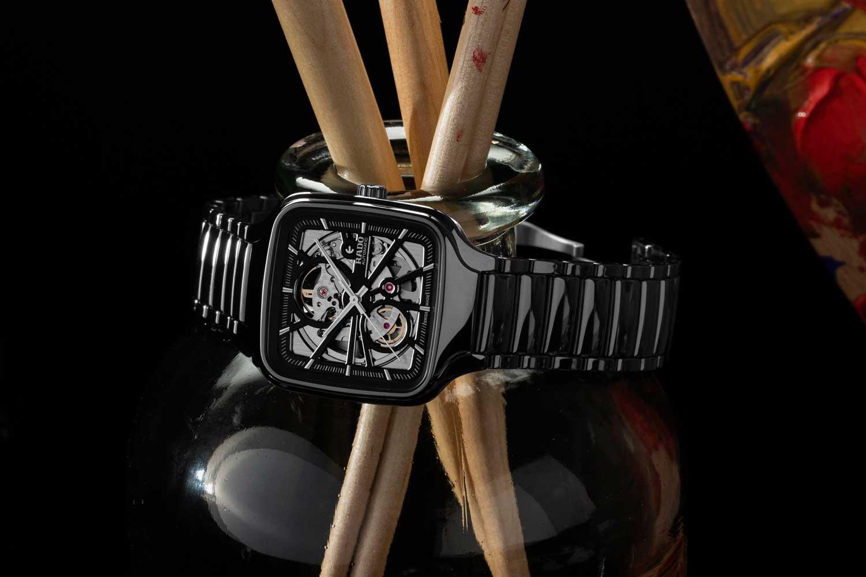 The Rado True Square Open Heart's case is of a monobloc construction in polished black ceramic (©Revolution)